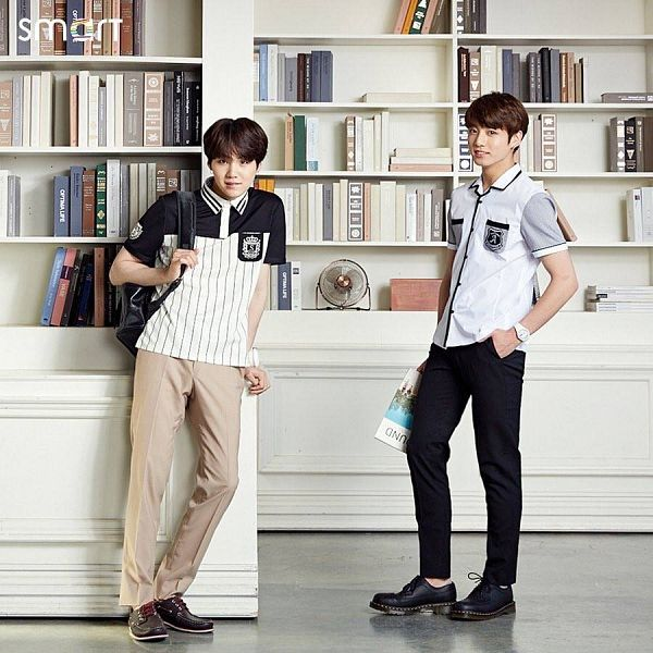 Tags: K-Pop, BTS, Suga, Jungkook, Black Pants, Brown Pants, Bag, Backpack, Book, Duo, Electric Fan, School Uniform