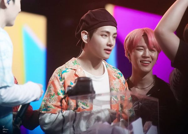 Tags: K-Pop, BTS, V (Kim Taehyung), Park Jimin, Necklace, Floral Print, Duo, Hat, Floral Jacket, Earbuds, Two Males, Orange Outerwear