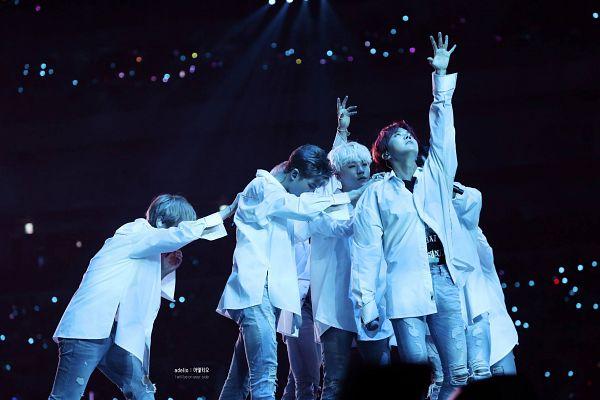 Tags: K-Pop, BTS, Spring Day, J-Hope, Suga, Rap Monster, V (Kim Taehyung), One Arm Up, Dancing, Bend Over, Dark Background, Jeans