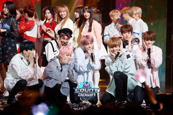 Tags: K-Pop, BTS, Jin, V (Kim Taehyung), Rap Monster, Park Jimin, J-Hope, Suga, Jungkook, Stage, Multi-colored Hair, Highlights
