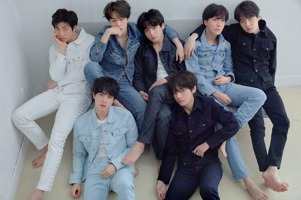 Tags: K-Pop, BTS, Suga, Jungkook, Jin, V (Kim Taehyung), Rap Monster, Park Jimin, J-Hope, Black Outerwear, Blue Pants, Black Jacket
