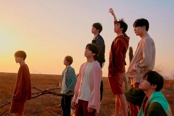 Tags: K-Pop, BTS, Suga, Jungkook, Jin, V (Kim Taehyung), Rap Monster, Park Jimin, J-Hope, Pink Outerwear, Black Pants, Sunset