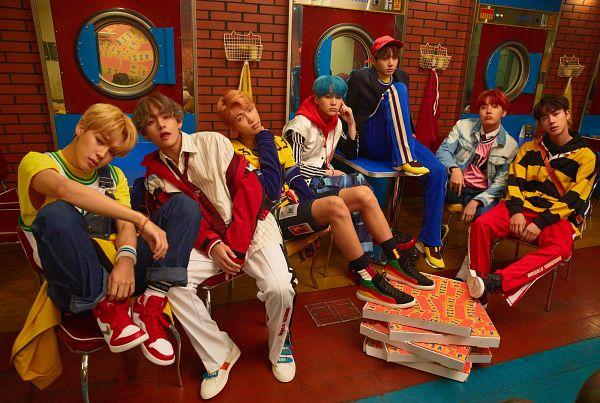 Tags: K-Pop, BTS, Suga, Jungkook, Jin, V (Kim Taehyung), Rap Monster, Park Jimin, J-Hope, Shorts, Red Pants, Chair