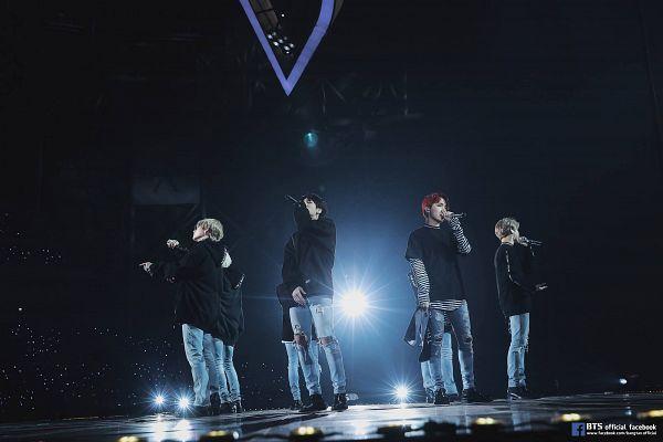 Tags: K-Pop, BTS, Jungkook, Jin, V (Kim Taehyung), Rap Monster, Park Jimin, J-Hope, Suga, Side View, Singing, Red Hair