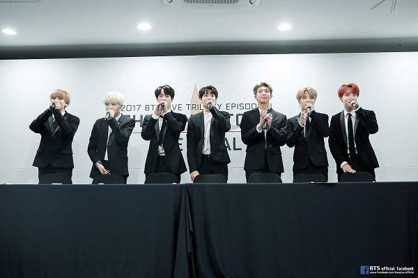 Tags: K-Pop, BTS, V (Kim Taehyung), Rap Monster, Park Jimin, J-Hope, Suga, Jungkook, Jin, Black Outerwear, Table, Black Pants