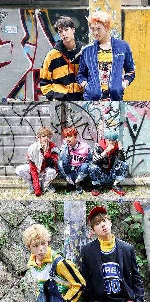 Tags: K-Pop, BTS, Rap Monster, Park Jimin, J-Hope, Suga, Jungkook, Jin, V (Kim Taehyung), Blue Hair, Full Group, Group