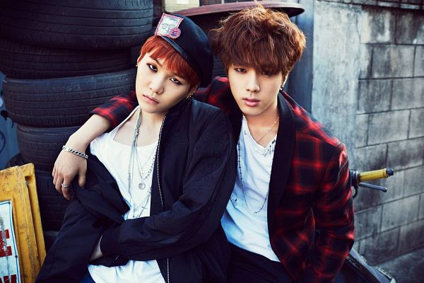Tags: K-Pop, BTS, Jin, Suga, Bracelet, Black Jacket, Black Outerwear, Necklace, Arm Around Shoulder, Duo, Red Hair, Two Males