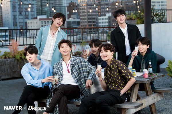 Tags: K-Pop, BTS, J-Hope, Suga, Jungkook, Jin, V (Kim Taehyung), Rap Monster, Park Jimin, Wavy Hair, Alcohol, Blue Shirt