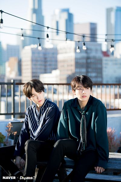 Tags: K-Pop, BTS, Suga, Jungkook, City, Plant, Tie, Sky, Outdoors, Striped Shirt, Striped, Table