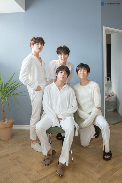 Tags: K-Pop, BTS, Jungkook, V (Kim Taehyung), Suga, Rap Monster, Text: URL, Sitting On Chair, White Pants, Plant, White Outfit, White Outerwear