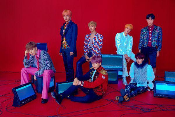 Tags: K-Pop, BTS, Suga, Jungkook, Jin, V (Kim Taehyung), Rap Monster, Park Jimin, J-Hope, Pink Pants, Shorts, Contact Lenses