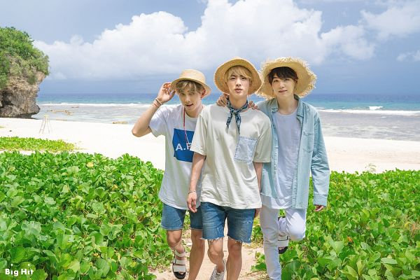 Tags: K-Pop, BTS, Rap Monster, Suga, Jin, Sand, Day, Shoes, Open Shirt, Jeans, Sandals, Outdoors