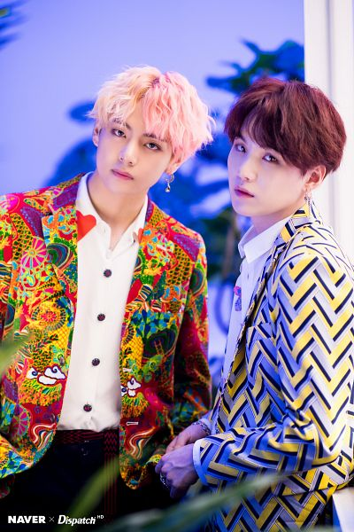 Tags: K-Pop, BTS, Suga, V (Kim Taehyung), Necklace, Multi-colored Hair, Duo, English Text, Serious, Collar (Clothes), Ring, Two Males
