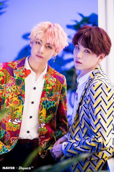 Tags: K-Pop, BTS, V (Kim Taehyung), Suga, English Text, Serious, Collar (Clothes), Ring, Two Males, Indoors, Wavy Hair, Leaf
