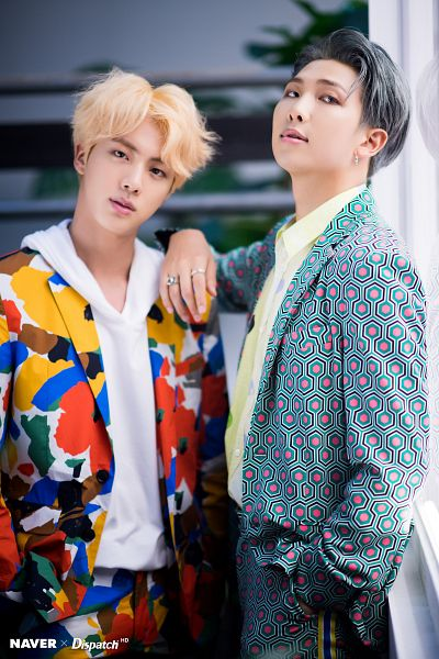 Tags: K-Pop, BTS, Jin, Rap Monster, Leaf, Hand In Pocket, Window, Contact Lenses, Ring, Gray Hair, Suit, Duo
