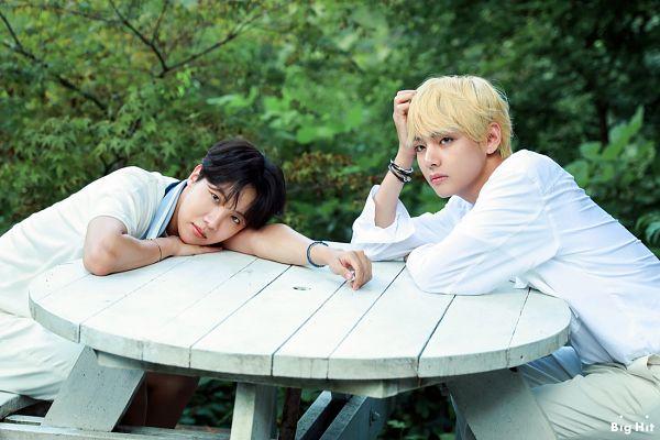 Tags: K-Pop, BTS, V (Kim Taehyung), J-Hope, Two Males, English Text, White Pants, Table, Text: Company Name, Duo, BTS 2019 Season's Greetings