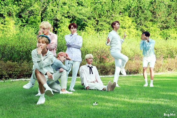 Tags: K-Pop, BTS, J-Hope, Suga, Jungkook, Jin, V (Kim Taehyung), Rap Monster, Park Jimin, White Pants, Standing On One Leg, Group