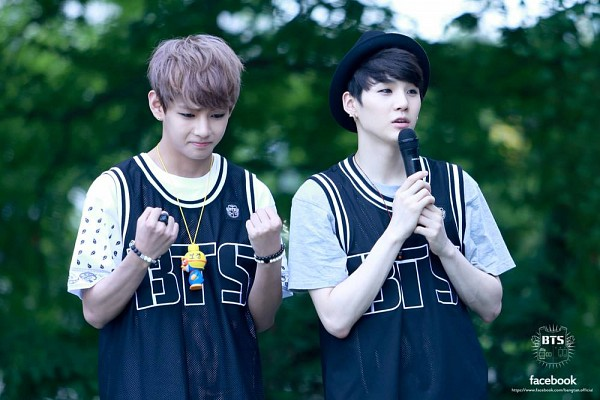 Tags: K-Pop, BTS, Suga, V (Kim Taehyung), Bracelet, Vest, Ring, Duo, Fist, Two Males, Short Sleeves, Necklace
