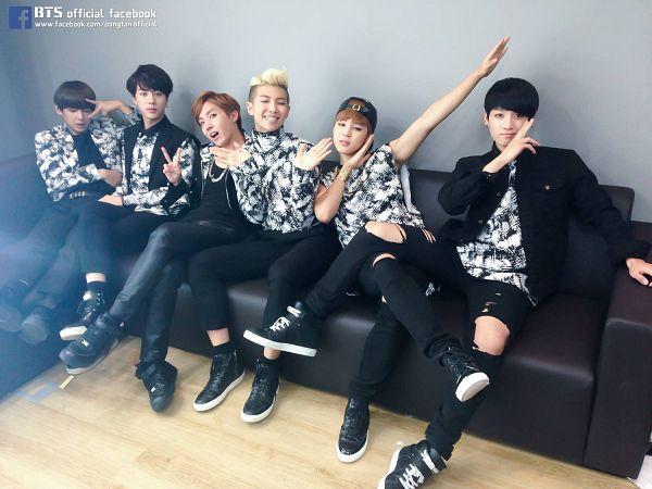 Tags: K-Pop, BTS, J-Hope, Jin, Jungkook, Rap Monster, V (Kim Taehyung), Park Jimin, Looking Up, Blonde Hair, Ripped Pants, Necklace