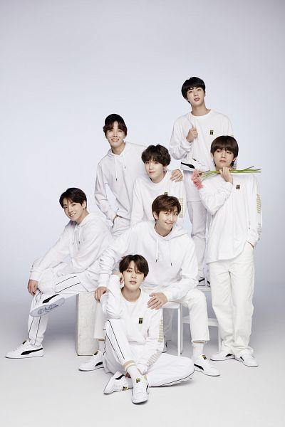 Tags: K-Pop, BTS, J-Hope, Suga, Jungkook, Jin, V (Kim Taehyung), Rap Monster, Park Jimin, Hat, Pink Flower, Full Group