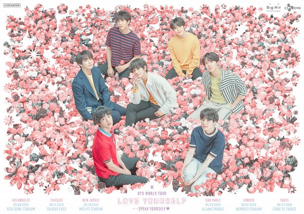 Tags: K-Pop, BTS, Suga, Jungkook, Jin, V (Kim Taehyung), Rap Monster, Park Jimin, J-Hope, Flower, Red Shirt, Orange Shirt
