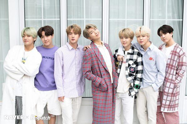 Tags: K-Pop, BTS, Jin, V (Kim Taehyung), Rap Monster, Park Jimin, J-Hope, Suga, Jungkook, Purple Shirt, Crossed Arms, Plaided Print