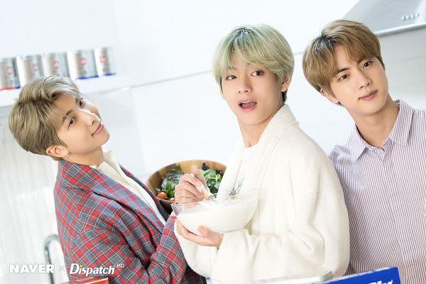 Tags: K-Pop, BTS, Jin, Rap Monster, V (Kim Taehyung), Green Hair, Milk, Vegetables, English Text, Plaided Print, Salad, Trio