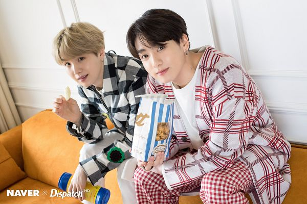 Tags: K-Pop, BTS, Jungkook, Suga, Eating, Red Outerwear, Food, White Jacket, Gray Outerwear, English Text, Two Males, Checkered