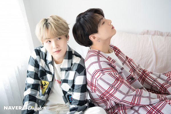 Tags: K-Pop, BTS, Suga, Jungkook, Gray Outerwear, White Background, White Day, Side View, White Jacket, Checkered, Sitting On Couch, Gray Jacket