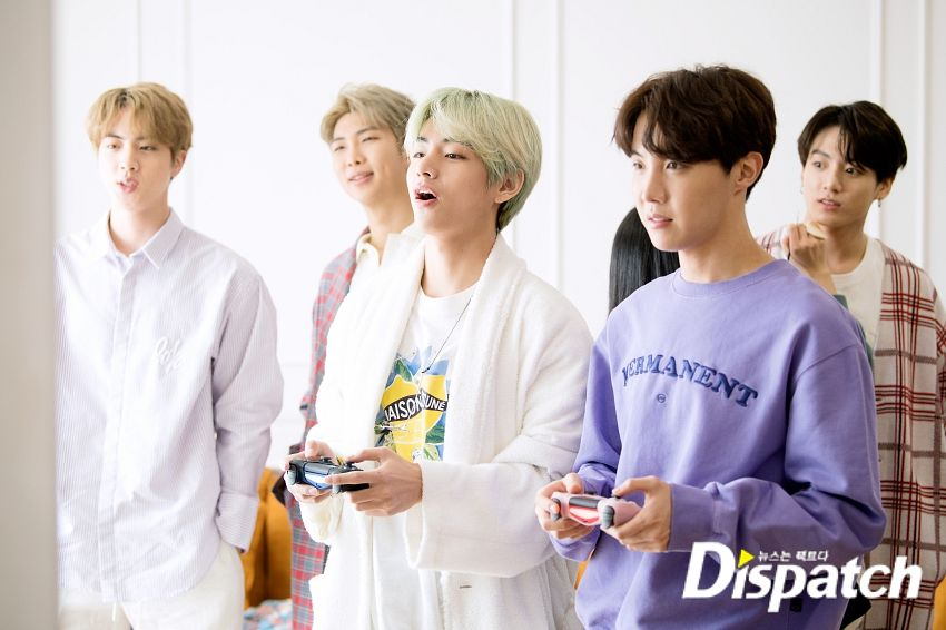 Tags: K-Pop, BTS, Jin, Rap Monster, Jungkook, V (Kim Taehyung), J-Hope, Green Hair, White Day, English Text, Group, Videogames