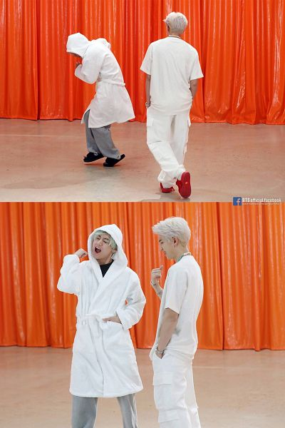 Tags: K-Pop, BTS, Intro: Persona, V (Kim Taehyung), Rap Monster, Hood Up, Two Males, Short Sleeves, Text: URL, English Text, Curtain, White Hair
