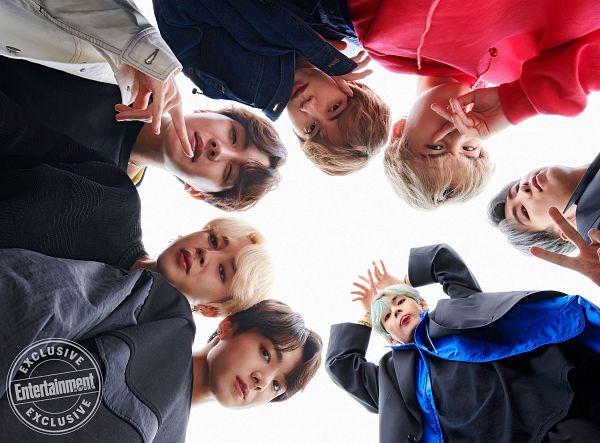 Tags: K-Pop, BTS, J-Hope, Suga, Jungkook, Jin, V (Kim Taehyung), Rap Monster, Park Jimin, Red Shirt, From Below, Green Hair