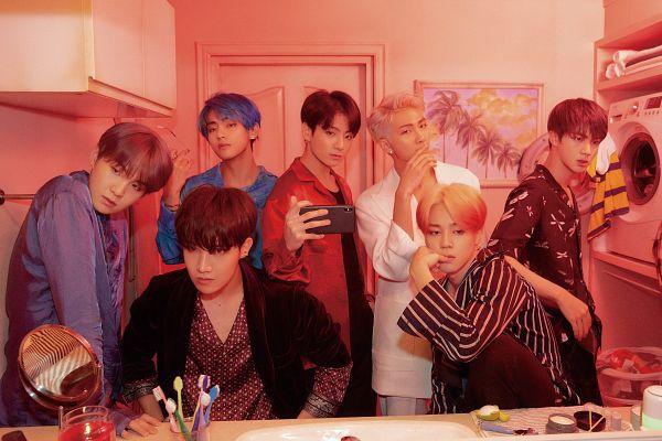 Tags: K-Pop, BTS, Jin, V (Kim Taehyung), Rap Monster, Park Jimin, J-Hope, Suga, Jungkook, Phone, Blue Hair, Glass