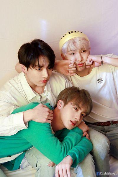 Tags: K-Pop, BTS, Rap Monster, Jungkook, Jin, Jeans, Lap Pillow, English Text, Text: Artist Name, Bracelet, Short Sleeves, Green Outerwear