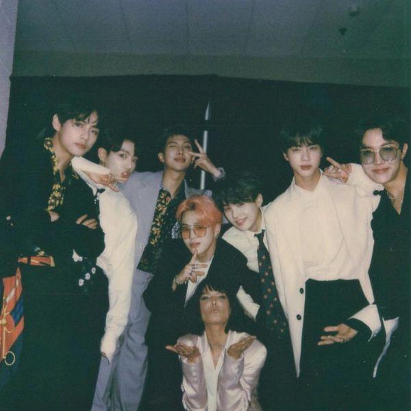 Tags: K-Pop, BTS, Jungkook, Jin, Halsey, V (Kim Taehyung), Rap Monster, Park Jimin, J-Hope, Suga, Pink Hair, Black Pants