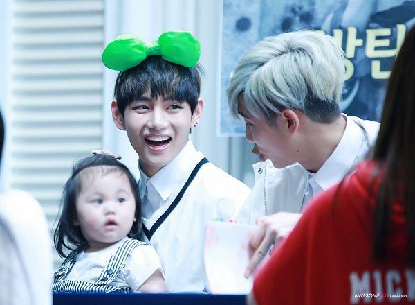 Tags: K-Pop, BTS, Rap Monster, V (Kim Taehyung), Child, Gray Hair, Black Eyes, Animal Ears, Wallpaper