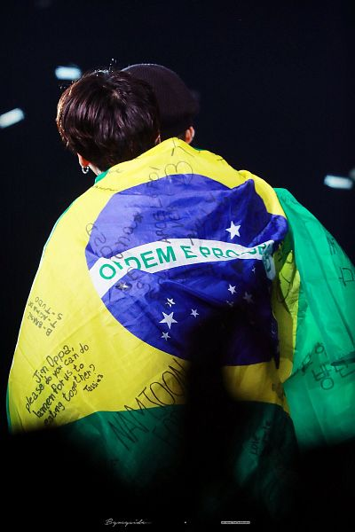 Tags: K-Pop, BTS, V (Kim Taehyung), Jungkook, English Text, Duo, Country Flag, Back, Two Males, Flag, Twitter, Live Performance