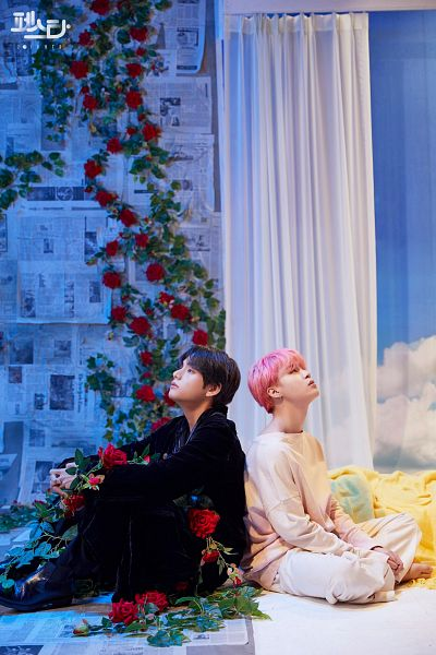 Tags: K-Pop, BTS, Singularity, Serendipity, Park Jimin, V (Kim Taehyung), Back To Back, Red Flower, Robe, Korean Text, Pink Hair, Balloons