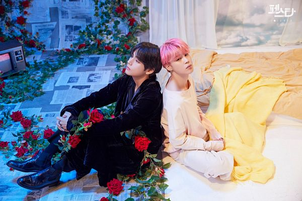 Tags: K-Pop, BTS, Singularity, Serendipity, V (Kim Taehyung), Park Jimin, Balloons, Duo, Curtain, Pink Hair, Two Males, Bed