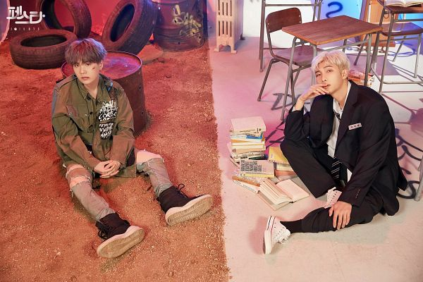 Tags: K-Pop, BTS, Persona (Song), give it to me (Agust D), Suga, Rap Monster, Korean Text, English Text, Gray Hair, Duo, Injury, School Uniform