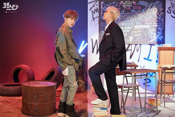 Tags: K-Pop, BTS, Persona (Song), give it to me (Agust D), Suga, Rap Monster, Korean Text, Chalkboard, English Text, Gray Hair, Duo, Injury