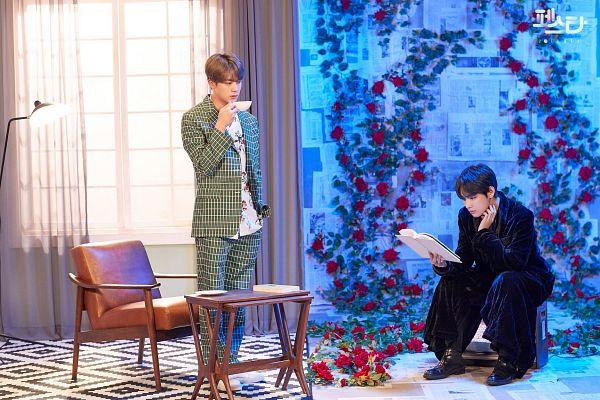Tags: K-Pop, BTS, Epiphany, Singularity, Jin, V (Kim Taehyung), Robe, Flower, Green Outerwear, Window, Red Flower, Korean Text