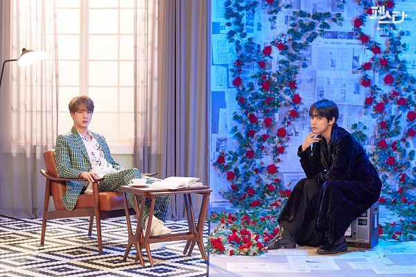 Tags: K-Pop, BTS, Epiphany, Singularity, V (Kim Taehyung), Jin, Window, Television, Robe, Korean Text, Red Flower, Duo