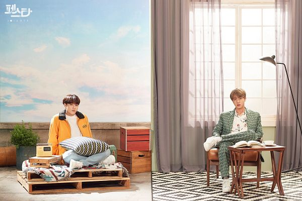 Tags: K-Pop, BTS, Euphoria, Epiphany, Jin, Jungkook, Green Outerwear, Window, Yellow Outerwear, Korean Text, Clouds, Box