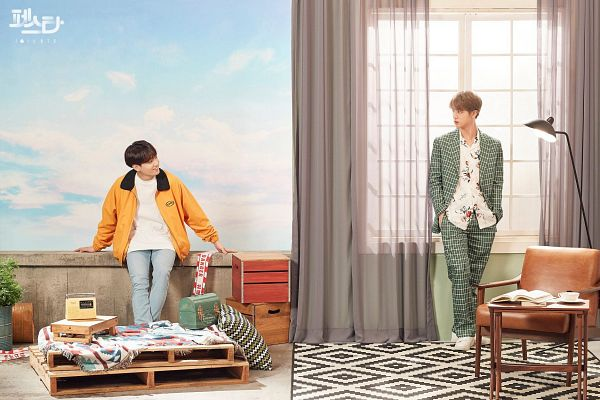 Tags: K-Pop, BTS, Epiphany, Euphoria, Jungkook, Jin, Clouds, English Text, Two Males, Duo, Floral Shirt, Looking At Another