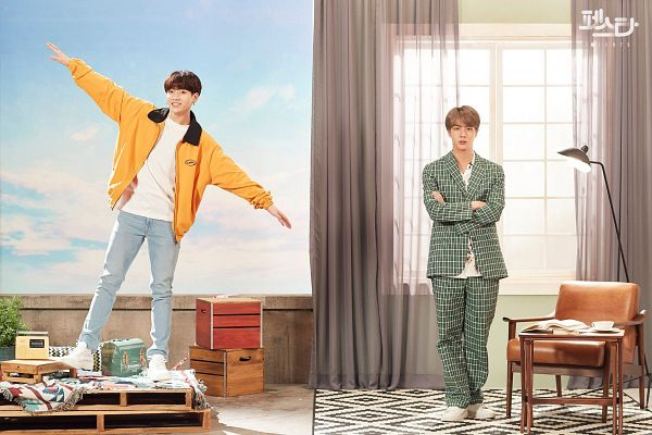 Tags: K-Pop, BTS, Epiphany, Euphoria, Jungkook, Jin, Yellow Outerwear, Korean Text, Clouds, Arms Out, Sky, Floral Shirt