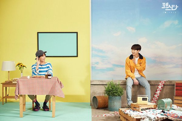 Tags: K-Pop, BTS, Euphoria, Jungkook, J-Hope, Striped Shirt, Striped, Hat, Yellow Flower, English Text, Two Males, Flower
