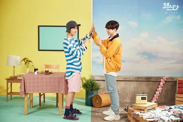 Tags: K-Pop, BTS, Euphoria, Jungkook, J-Hope, Korean Text, English Text, Striped, Duo, Shorts, Two Males, Jeans