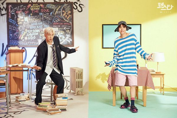 Tags: K-Pop, BTS, Persona (Song), J-Hope, Rap Monster, Two Males, Tie, White Hair, Table, Chalkboard, School Uniform, Striped Shirt