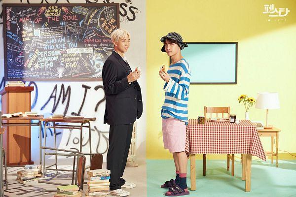 Tags: K-Pop, BTS, Persona (Song), J-Hope, Rap Monster, Uniform, Korean Text, Black Jacket, Striped, Hat, Duo, Loose Tie